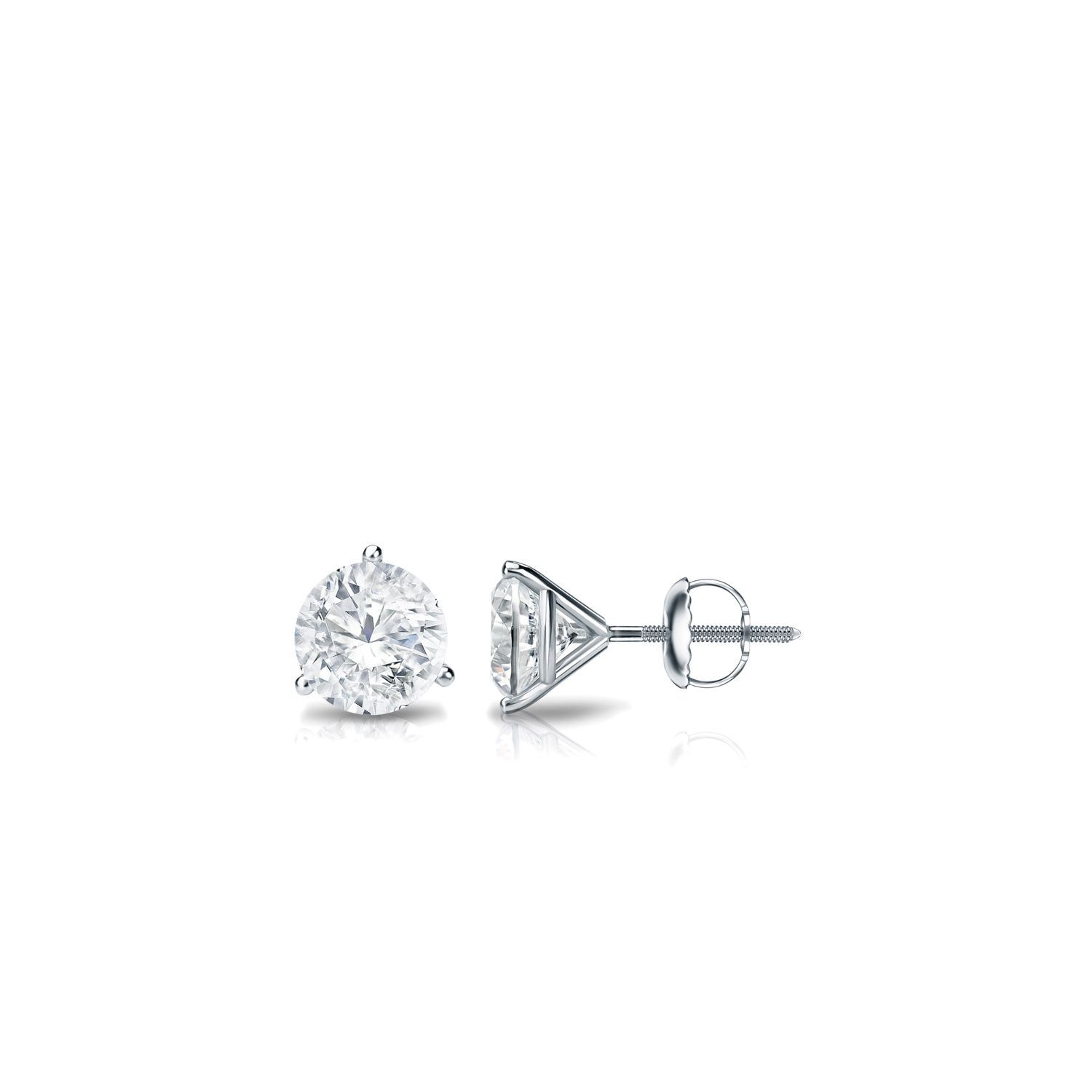 gold martini in shop earrings setting stud prong diamond white