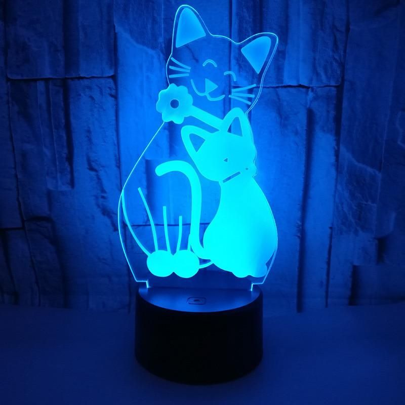 Lovely Cat 3d Led Night Light With 7 Colors Light For Home Decoration Lamp Amazing Visualization Optical Illusion 3d Table Lamp 3d Led Night Light Led Night Light Night Light