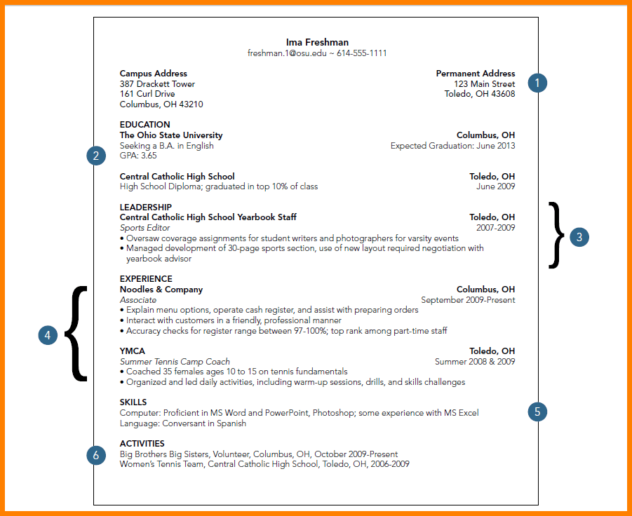 Image result for resume for a student looking for part