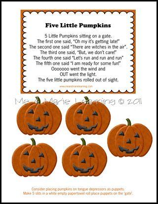 5 Little Pumpkins Freebie Five Little Pumpkins Halloween