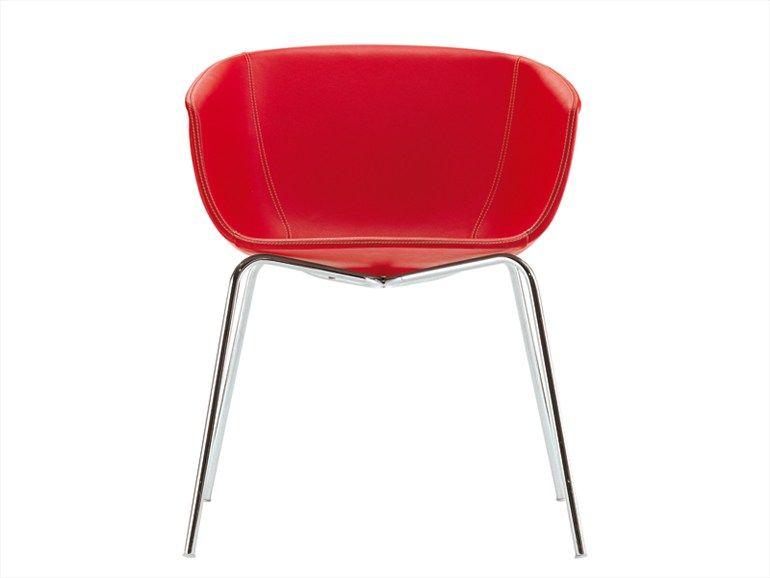Cadeira de pele com braços STRIP by POLIFORM | design Carlo Colombo