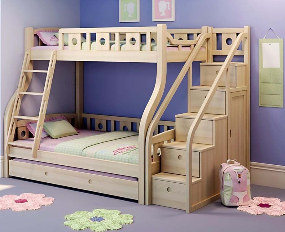 wooden bunk beds with movable stairs and trundle