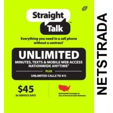 Straight Talk $45 Prepaid service Top Up Refill Reload Card PIN Load Service