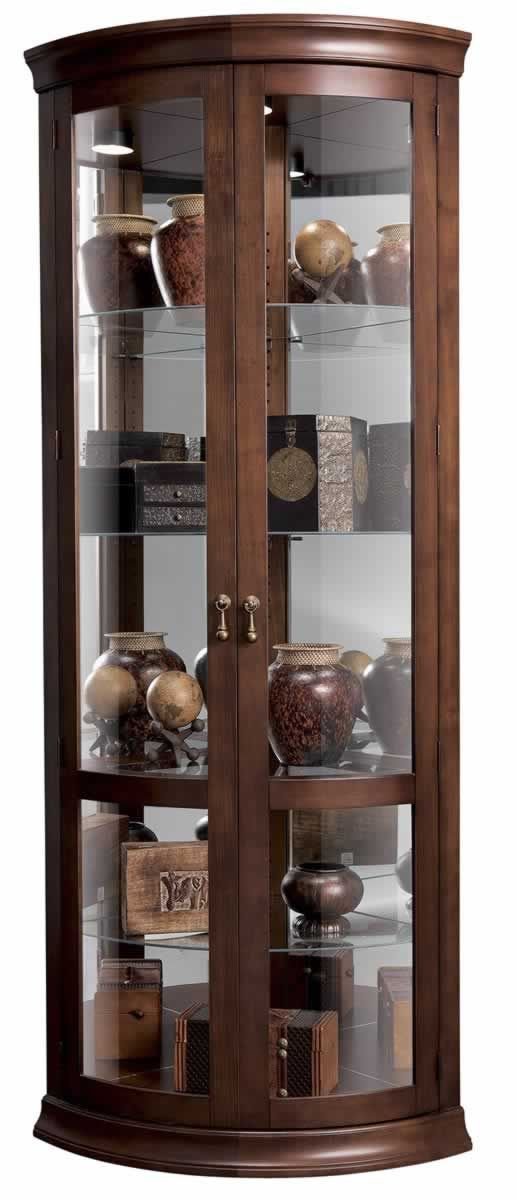 Mirrored Curved Door Cherry Corner Curio Cabinet 680503 Howard