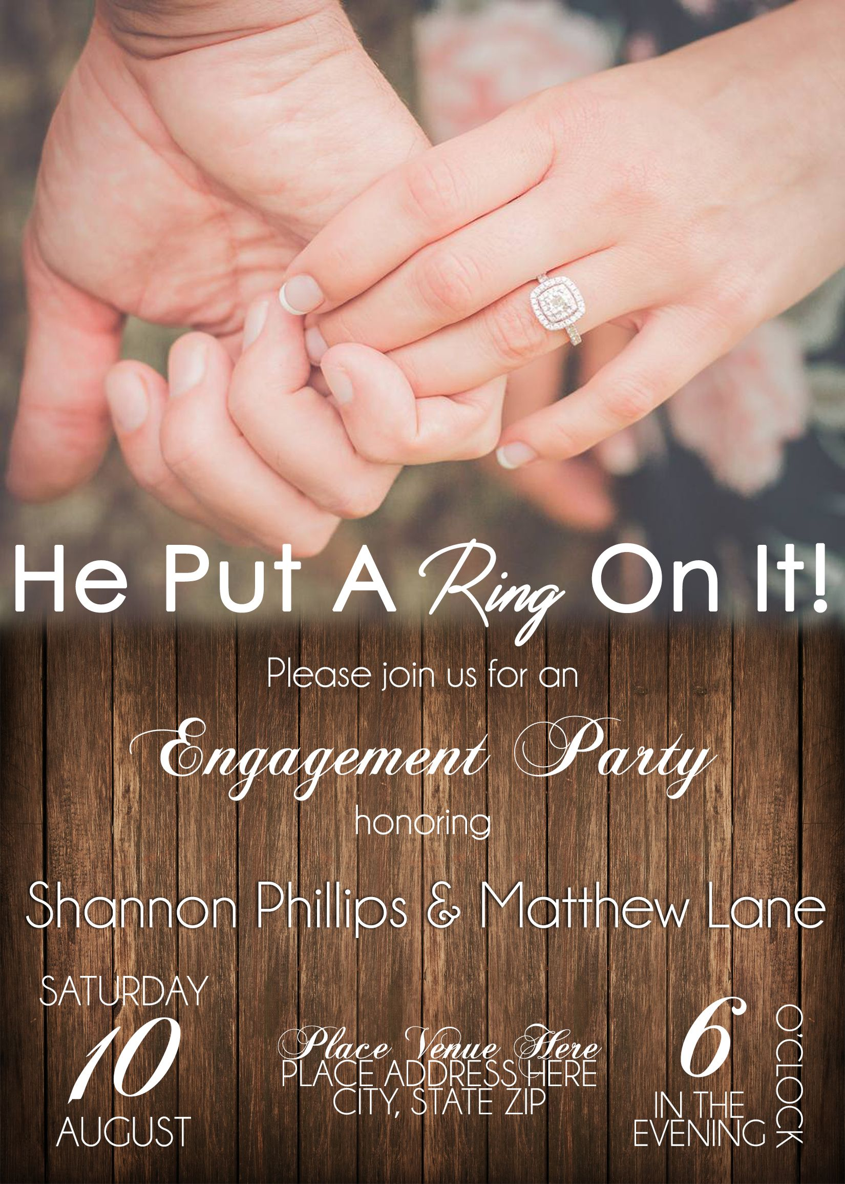 He Put A Ring On It! Engagement Party Invitation | Shay Lanae ...