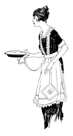 Vintage Food Clipart Woman Serving Pie Free Black And White Clip Art Retro
