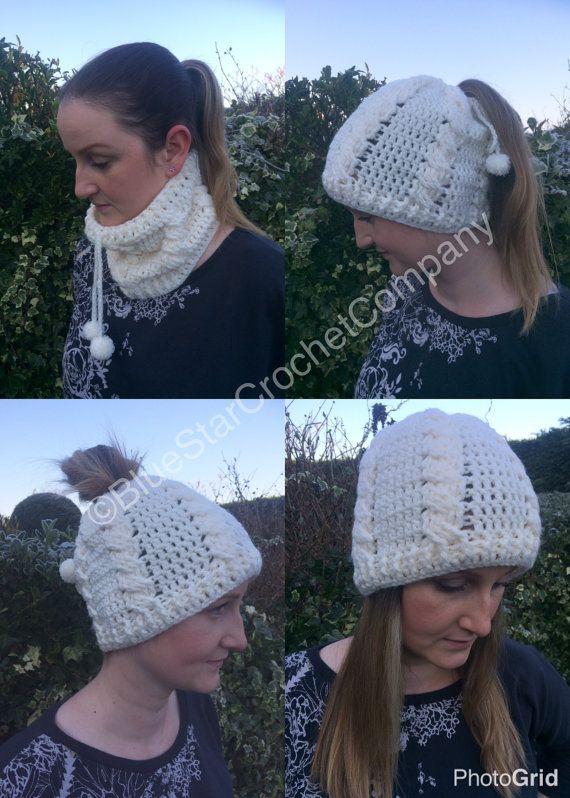 Crochet snood Crochet cowl Messy bun beanie Crochet beanie Cable ...