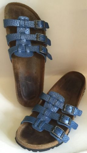 #Trending02 - Birki's Birkenstock Womens Size US 6 EU 37 Blue Leather 3 Straps Sandals Slides https://t.co/foqfbgrnfI