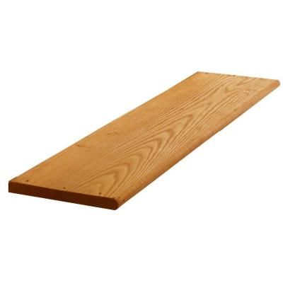 2 In X 12 In X 4 Ft Cedar Tone Pressure Treated Wood Step Tread 211693 The Home Depot Wood Steps Deck Stairs Outdoor Stairs