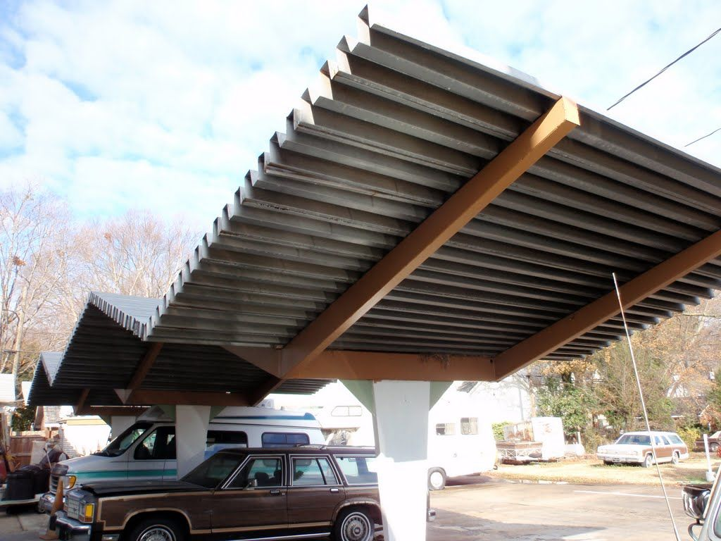 Dramatic Zig Zagging Corrugated Metal Carport Roof At Gables Motor Lodge 1 6 11 Corrugated Plastic Backyard Dining Green Building Materials
