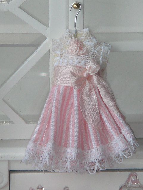 Dollhouse Pink stripes girl dress. Ready to hang. 1.12 scale.