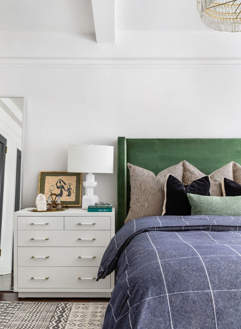 All White Bedroom With A Green Bed Frame And Blue Bedding White Bedroom Furniture Home Decor Bedroom Chic Master Bedroom
