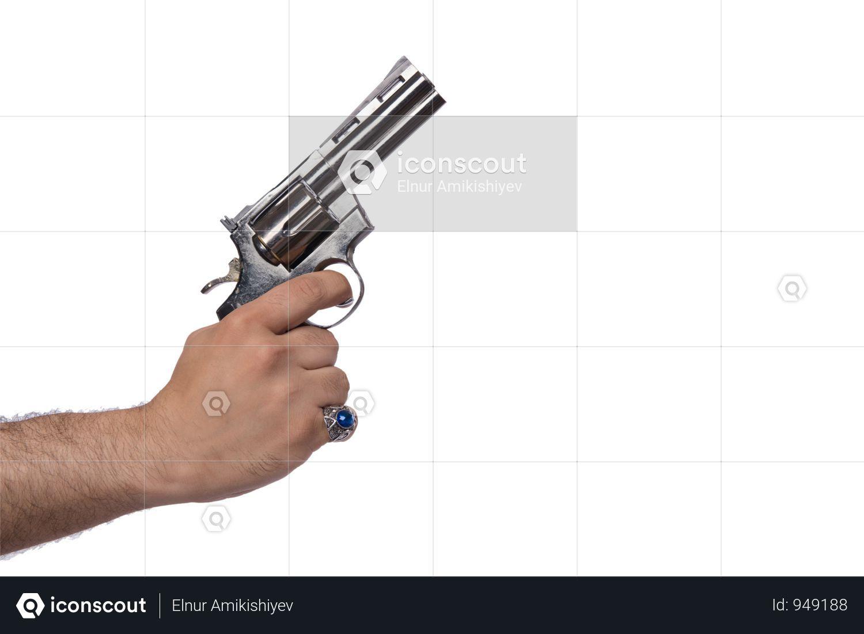 Hand With Handgun Isolated On White Photo Hand Guns Photo Hands