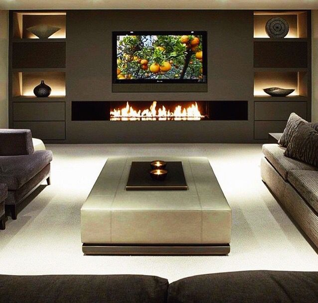 Cozy Home Theater: Long Fireplace Either Dividing The Girls Or In The