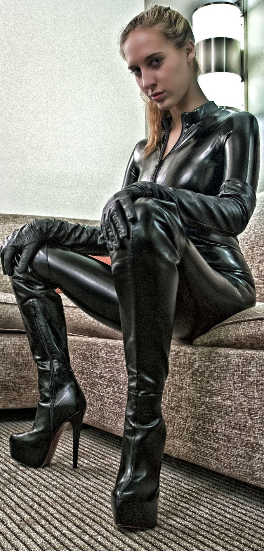 Leather catsuit thigh boots gloves fetish | leather ...