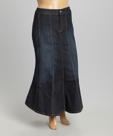 Another great find on #zulily! Black Wash Denim Trumpet Skirt - Plus #zulilyfinds
