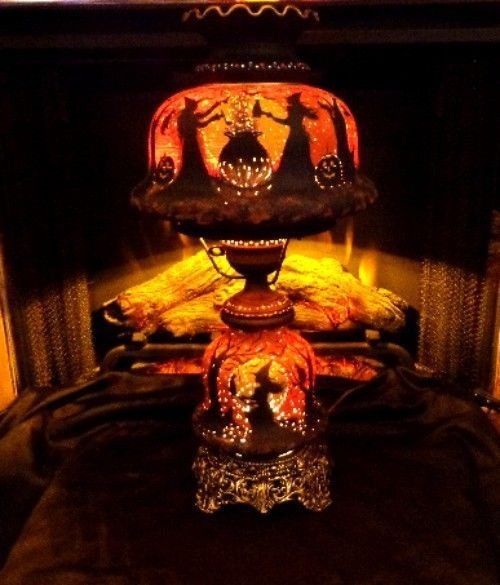 LARGE VINTAGE WITCHES HAUNTED HOUSE 3- WAY* HURRICANE GLOW LAMP HP by-Peggy G