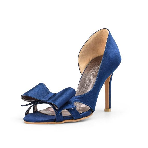 Navy Blue Wedding Heels Satin Shoes By Christyngshoes