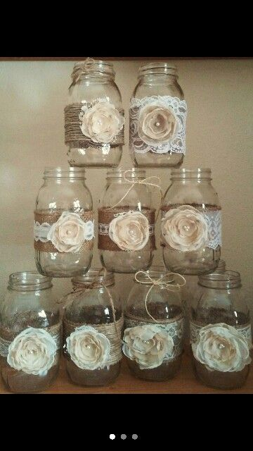 decorated mason jars lauren 39 s sweet 16 2016. Black Bedroom Furniture Sets. Home Design Ideas