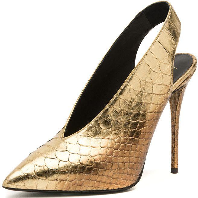 Limited Supply Women s Leather Golden Python Slingback Stiletto Heels Pumps  Shoes  elegantshoegirl  shoes  ankle  boots  flats  fashions  womens 7f9a44112583