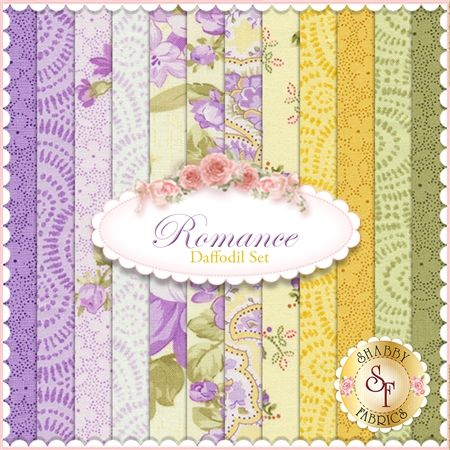 Romance 12 FQ Set - Daffodil Set by E. Vive for Benartex Fabrics: Romance is a beautiful floral collection by E. Vive for Benartex Fabrics. 100% Cotton. This set contains 12 fat quarters, each measuring approx 18 x 21.