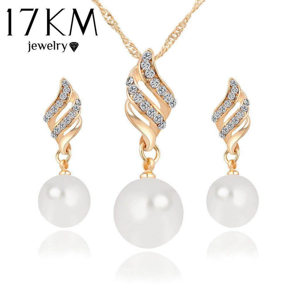 Fashion women necklace earrings jewelry sets crystal gold silver