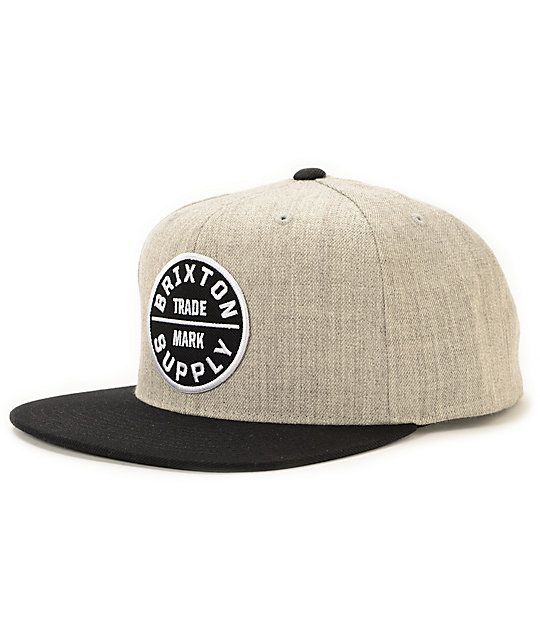 0f310f256d953 Rock a clean look with the Brixton Oath III snapback hat in heather grey  and black