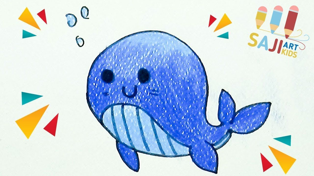 วาดร ประบายส ไม สวยๆ วาดร ปปลาวาฬง ายๆ How To Draw A Cartoon Blue Whale