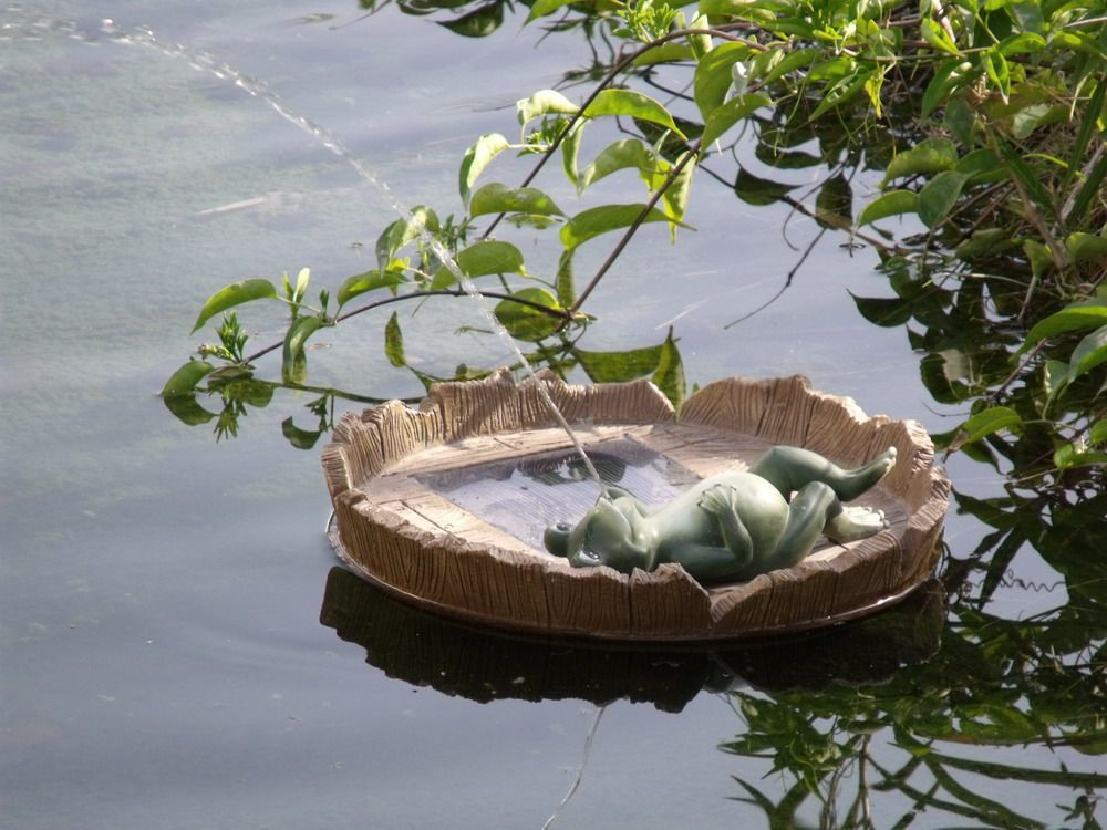 Floating Happy Frog Relaxing Spitter Solar Pond Fountain with Battery Pack  $59.95