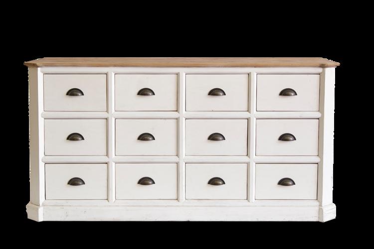 Visitar comoda con 12 cajones y tiradores de medida concha acabado en color blanco y tapa en - Tiradores de cajones ...