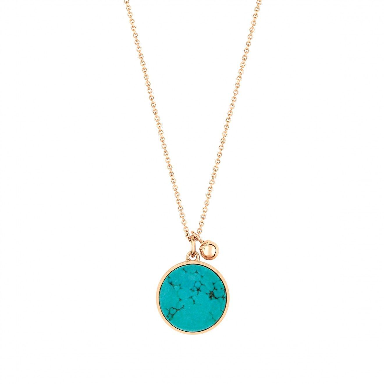 Ever Turquoise Disc 18-karat rose gold necklace Ginette NY vTRj0u1WqQ
