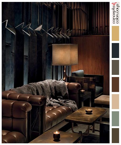 Royalton Hotel Lounge With Color Palette Dark Richly Colored Bar Interior Brown Sofa Sherwin Williams Urban Bronze