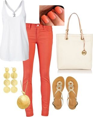 Coral, white & gold