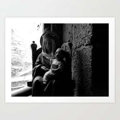 Dusty Religion Corner - Mary and Baby Jesus (Black & White) Art Print by Curt Phillips - $16.00