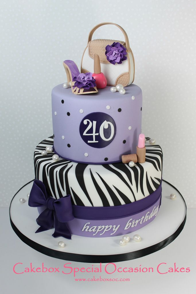 Girly Birthday Cake With Sugar Purse Shoe And Make Up Cakebox - Purse birthday cake ideas