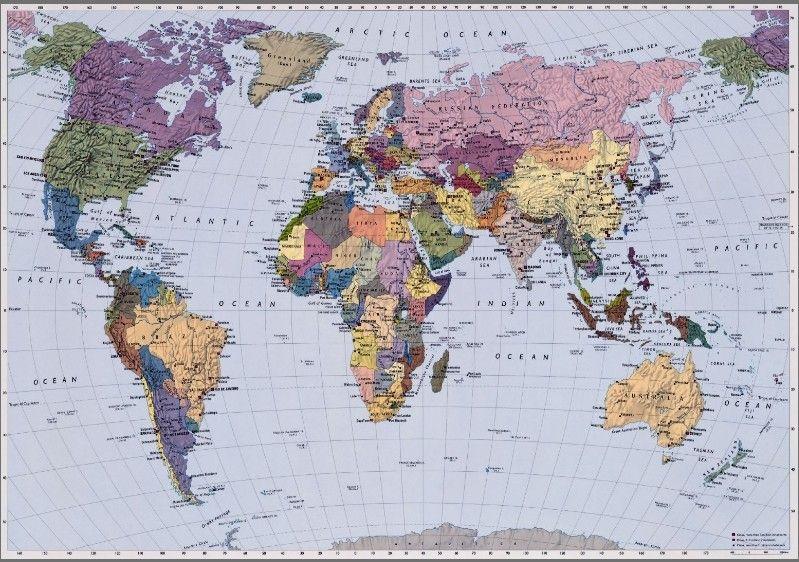 4 050 World Map Fototapeta Komar Mapa Sveta Velikost 270x188 Cm