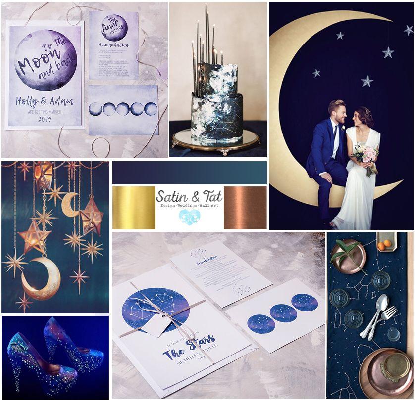 Space Themed Wedding Moodboard Moon Wedding Theme Constellation