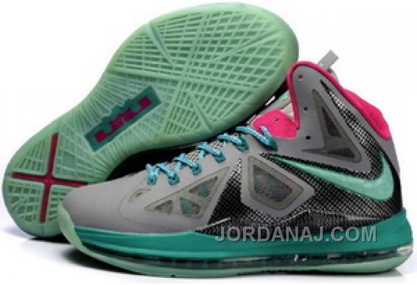 854 215665 Nike Le Bron 10 X Grey Black Cyan Shoes