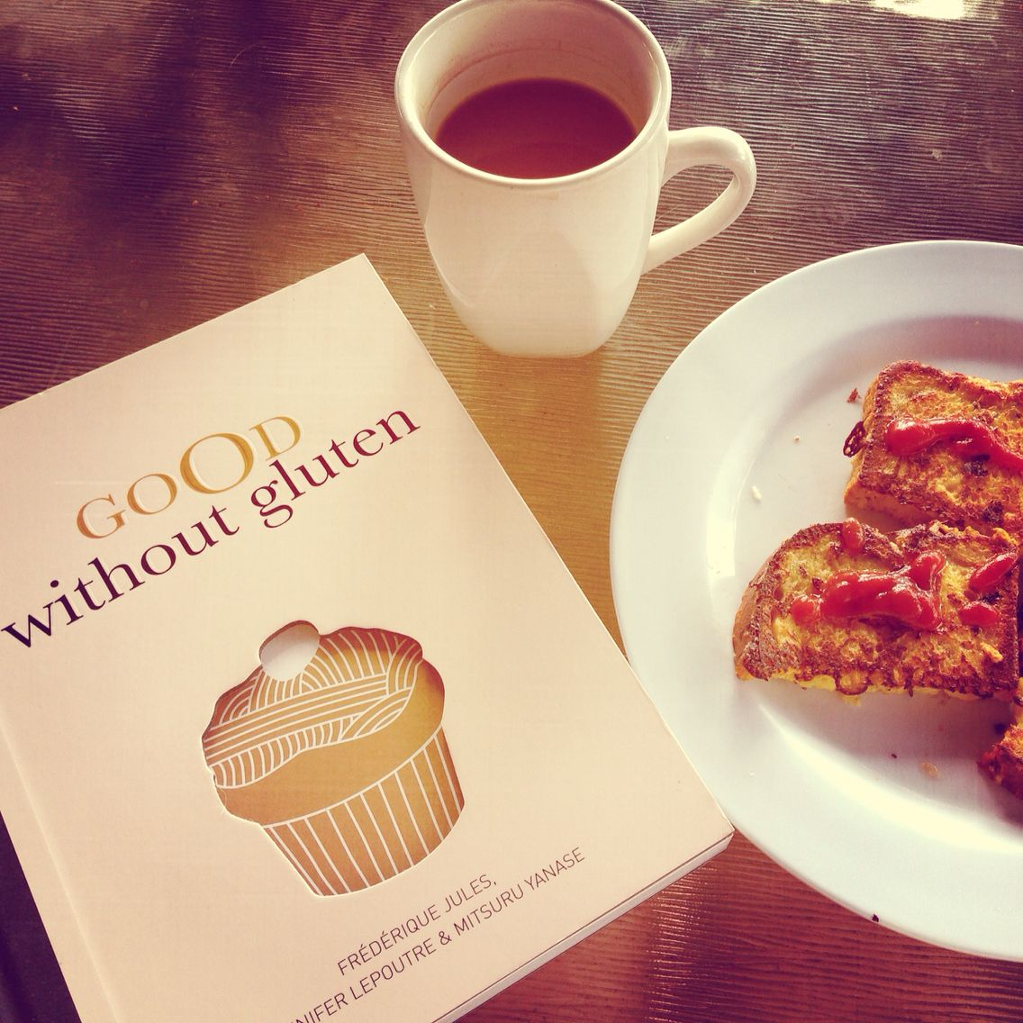 A serve of gluten-free French Toast to go with my new gluten-free French Cookbook... L'amoure x x