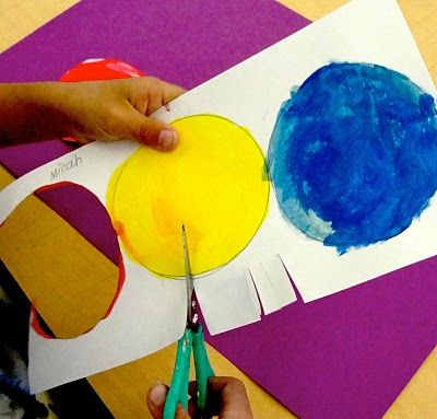 Primary/Secondary color flowers:  I predraw circles, kids paint 3 primary colors,  get next paper w/ predrawn circles,  colormix secondary colors.