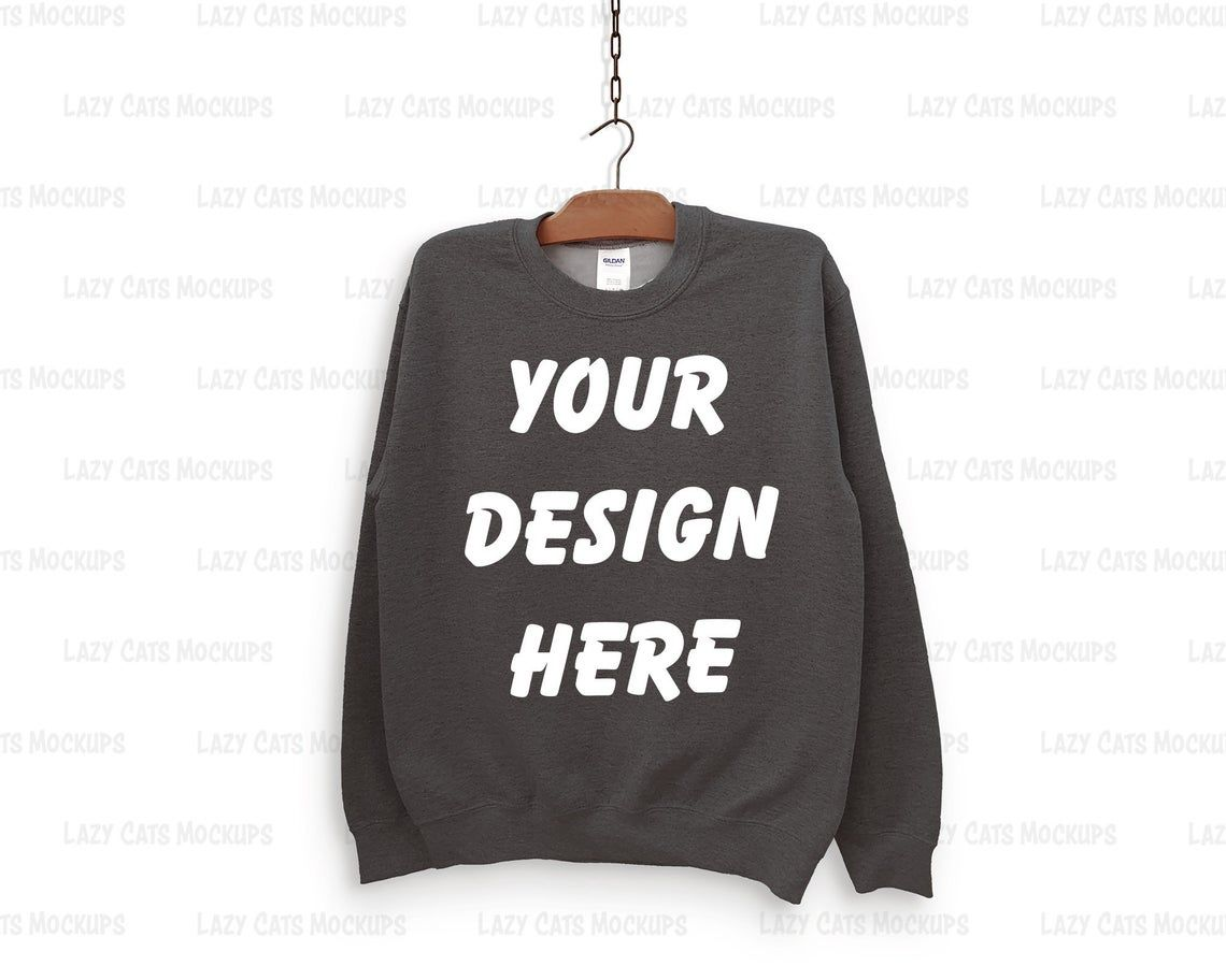 Download Dark Heather Gildan 18000 Mock Up With Hanger Sweatshirt Etsy Hoodie Mockup Sweatshirts Great T Shirts