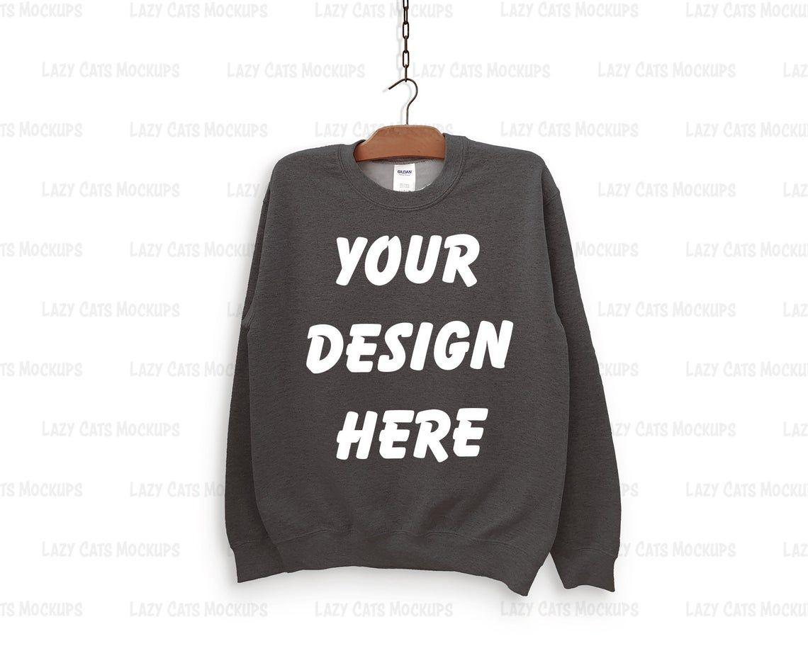 Dark Heather Gildan 18000 Mock Up With Hanger Sweatshirt Mock Up Flat Lay Mock Up Women Mock Up Men Mock Up Sweatshirt Mockup Shirt Mockup Hoodie Mockup Sweatshirts [ 912 x 1140 Pixel ]