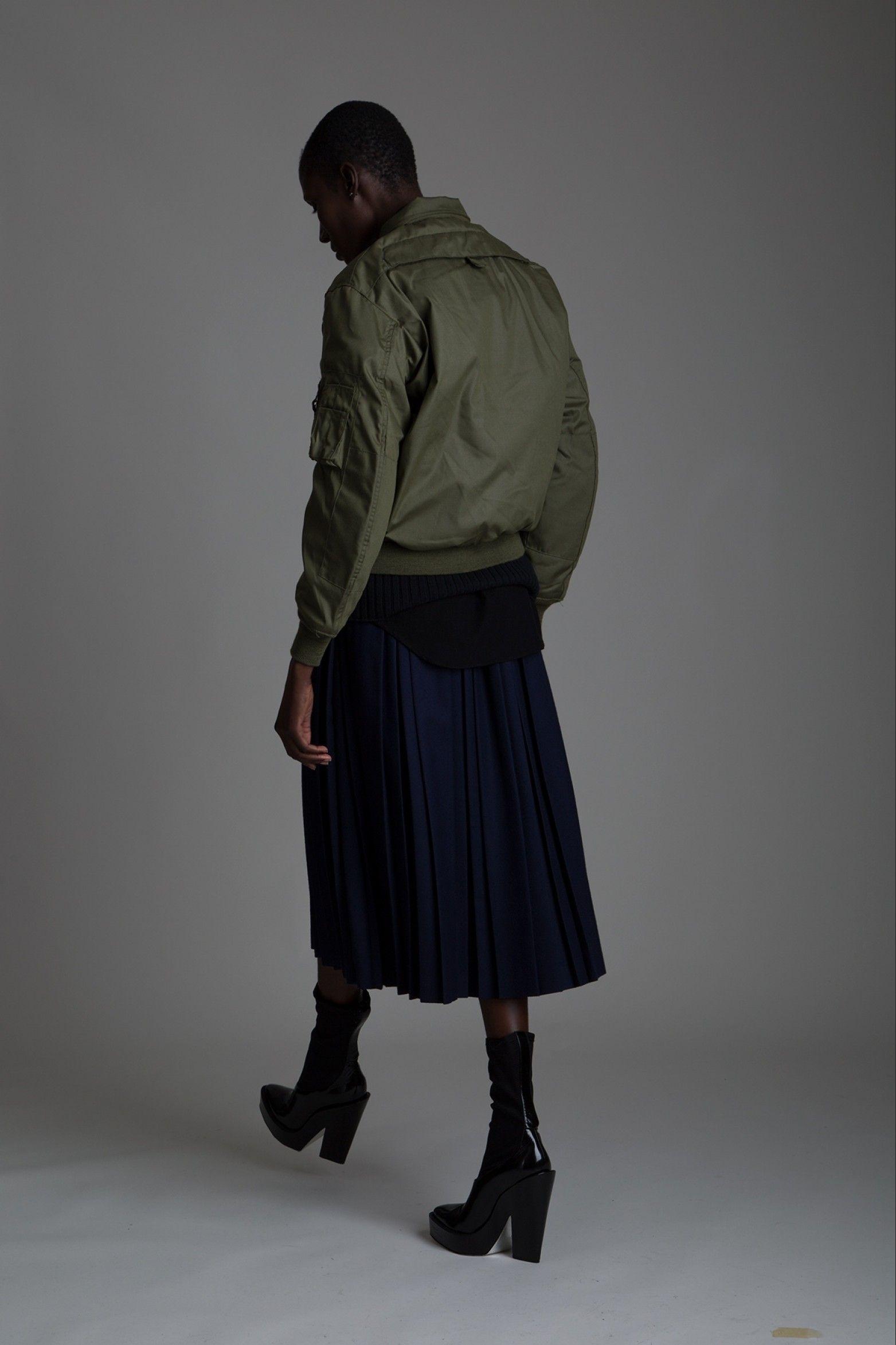 Vintage Helmut Lang Knit Vest, Adam Kimmel Shirt, Field Manor Pleated Skirt and Military Bomber Jacket. Designer Clothing Dark Minimal Street Style Fashion