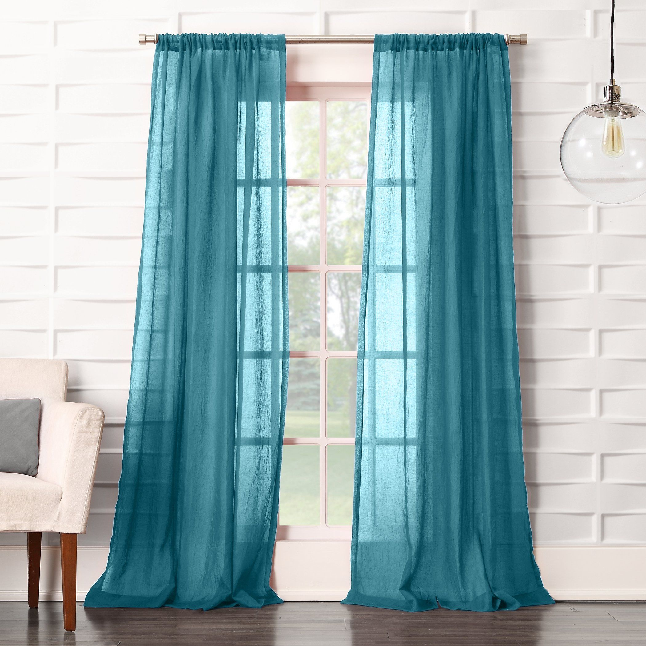 No 918 Tayla Crushed Sheer Voile Rod Pocket Curtain Panel 50 X 95