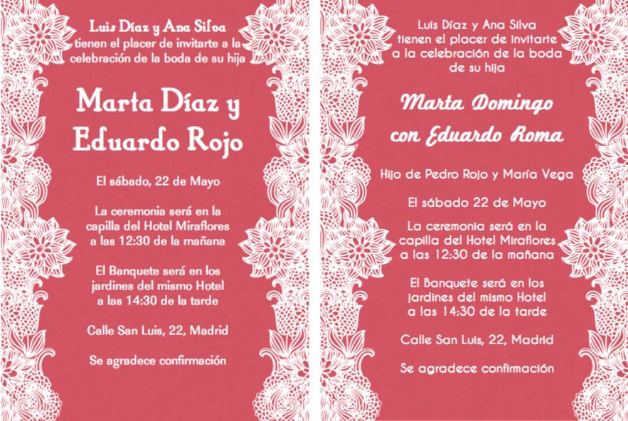 Spanish wedding and Invitation wording