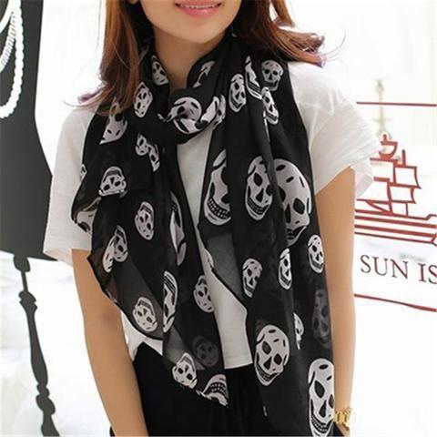 3760c34df6a 170 65 Cm Women s Scarves Wraps Girl s Chiffon Scarf Female Skulls Leopard  Print Silk Ultrathin Dual Shawls Women Scarf