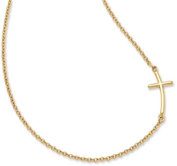 Zales Offset Curved Cross Necklace in Yellow Rhodium Sterling Silver 5JqmmdpQL