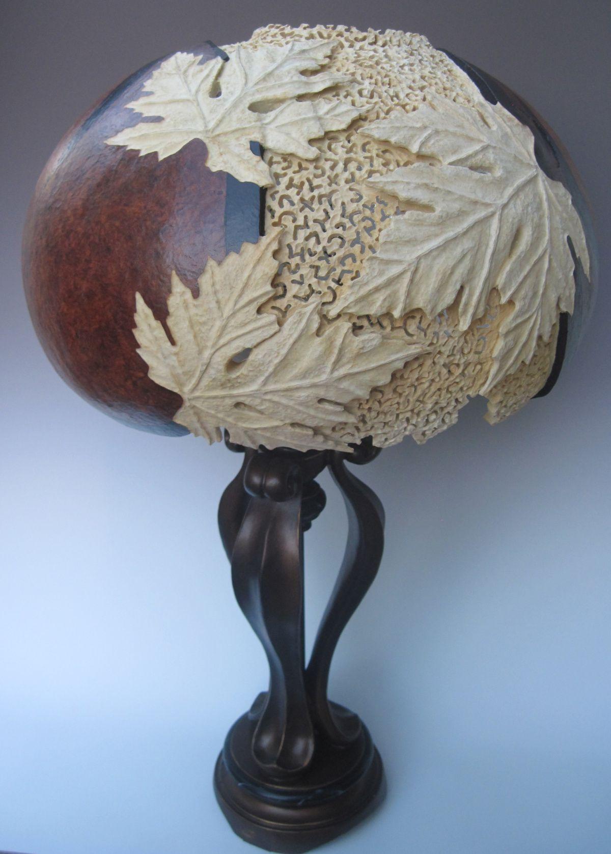 Carved Gourd Lamp Byjoanna Helphrey Gourd Design Pinterest