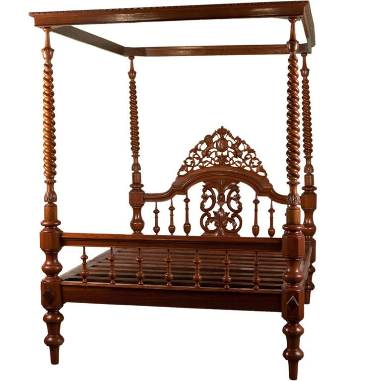 Anglo Indian Teak Four Poster Bed With Canopy In 2019