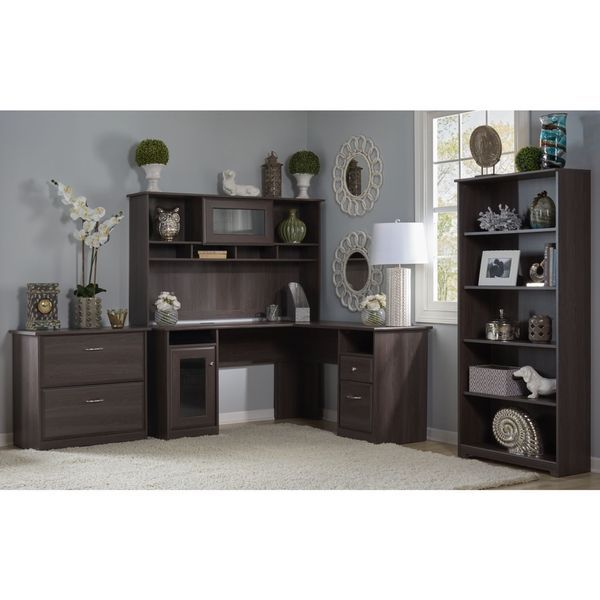Lovely Bush Furniture Cabot Collection L Desk With Hutch, Lateral File And 5 Shelfu2026
